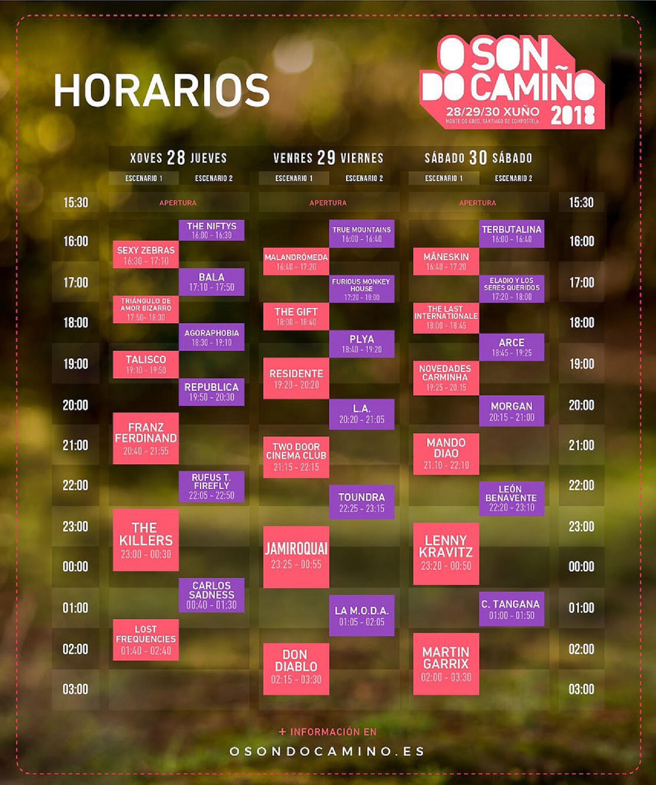 Horarios festival O Son Do Camiño 2018
