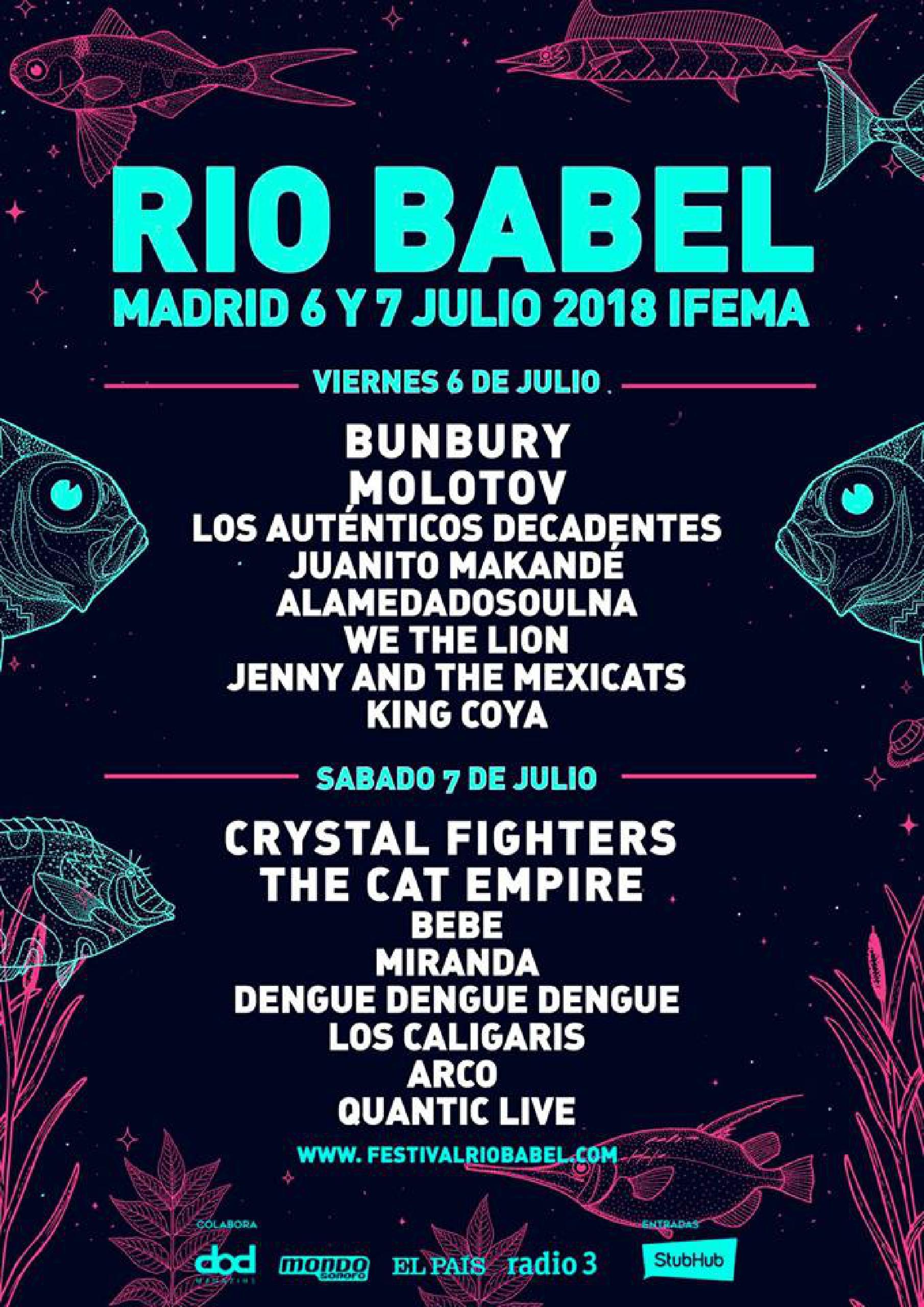Cartel por días Festival Rio Babel 2018