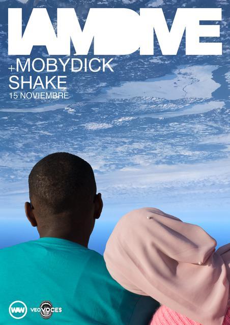 Póster del concierto de I am Dive y Mobydick en la sala Shake! en Bilbao, el 15 de noviembre de 2019.