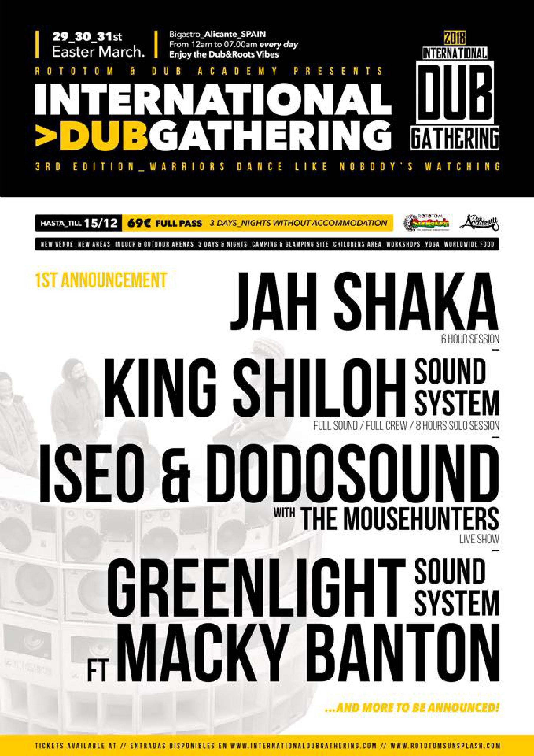 Foto cartel primeras confirmaciones International Dub Gathering