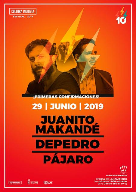 Sábado 29 de junio, en la 10a Edición del Festival Cultura Inquieta. En Getafe, Madrid.