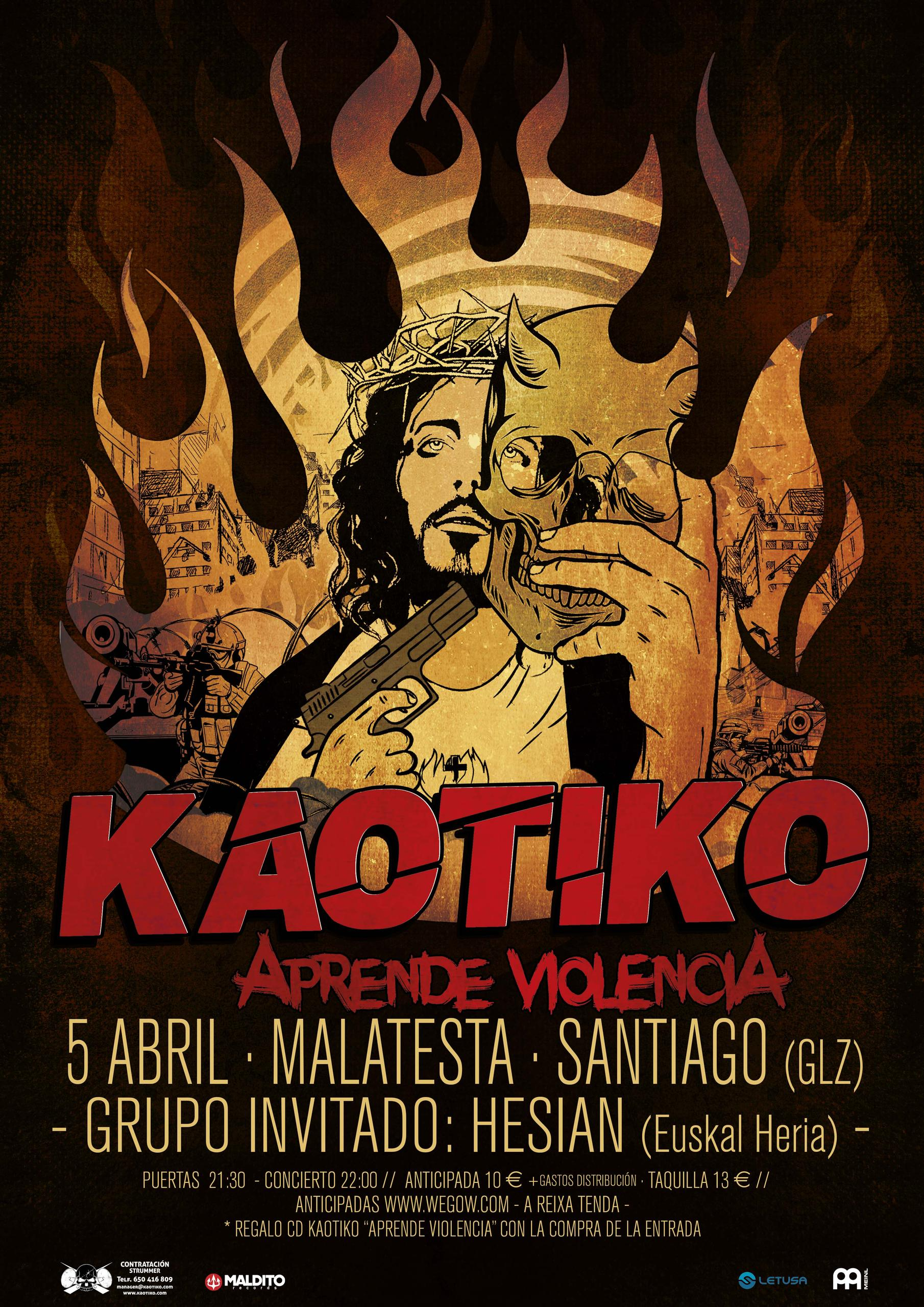 Cartel de la presentación de KAOTIKO en Santiago de Compostela