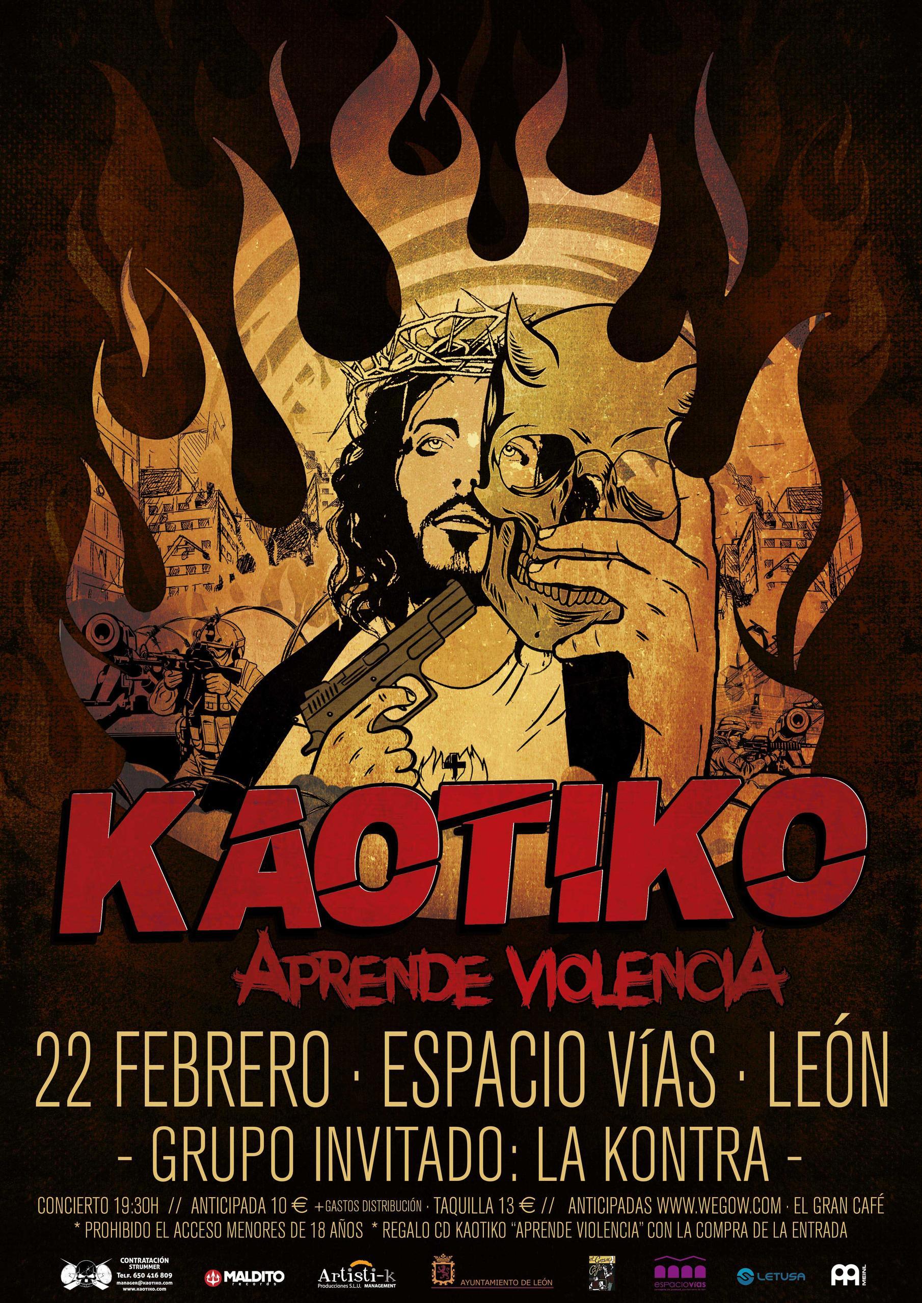 Cartel del concierto de KAOTIKO en LEON