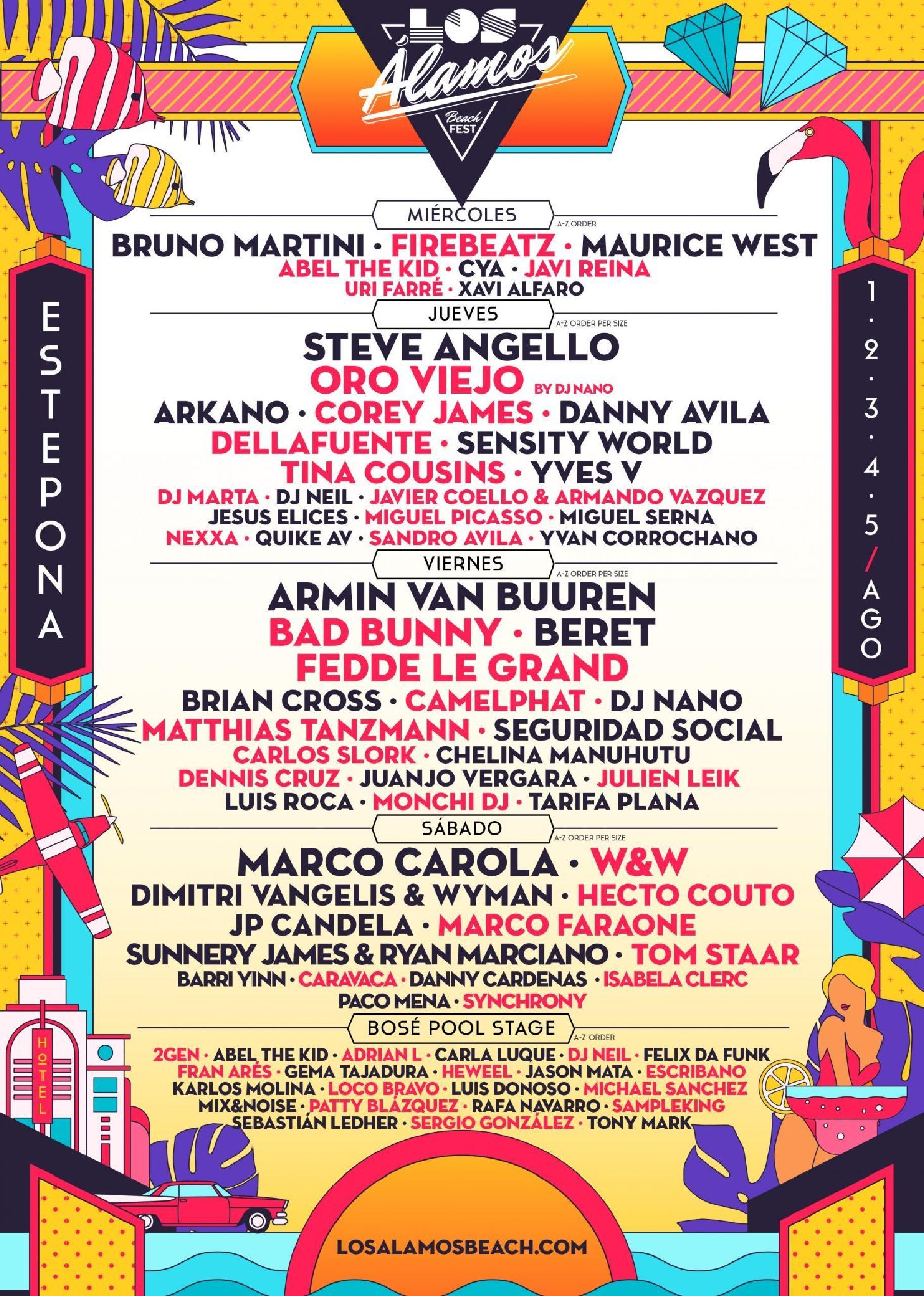 Los Álamos Beach Fest 2018 cartel por días