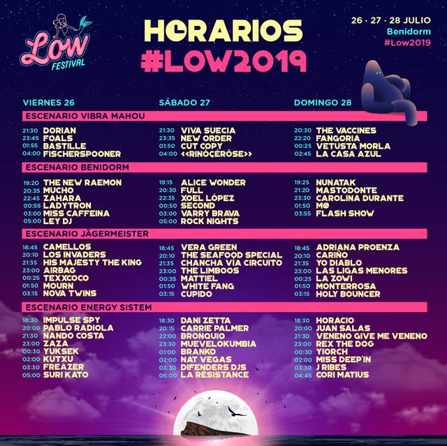 Horarios Low Festival 2019