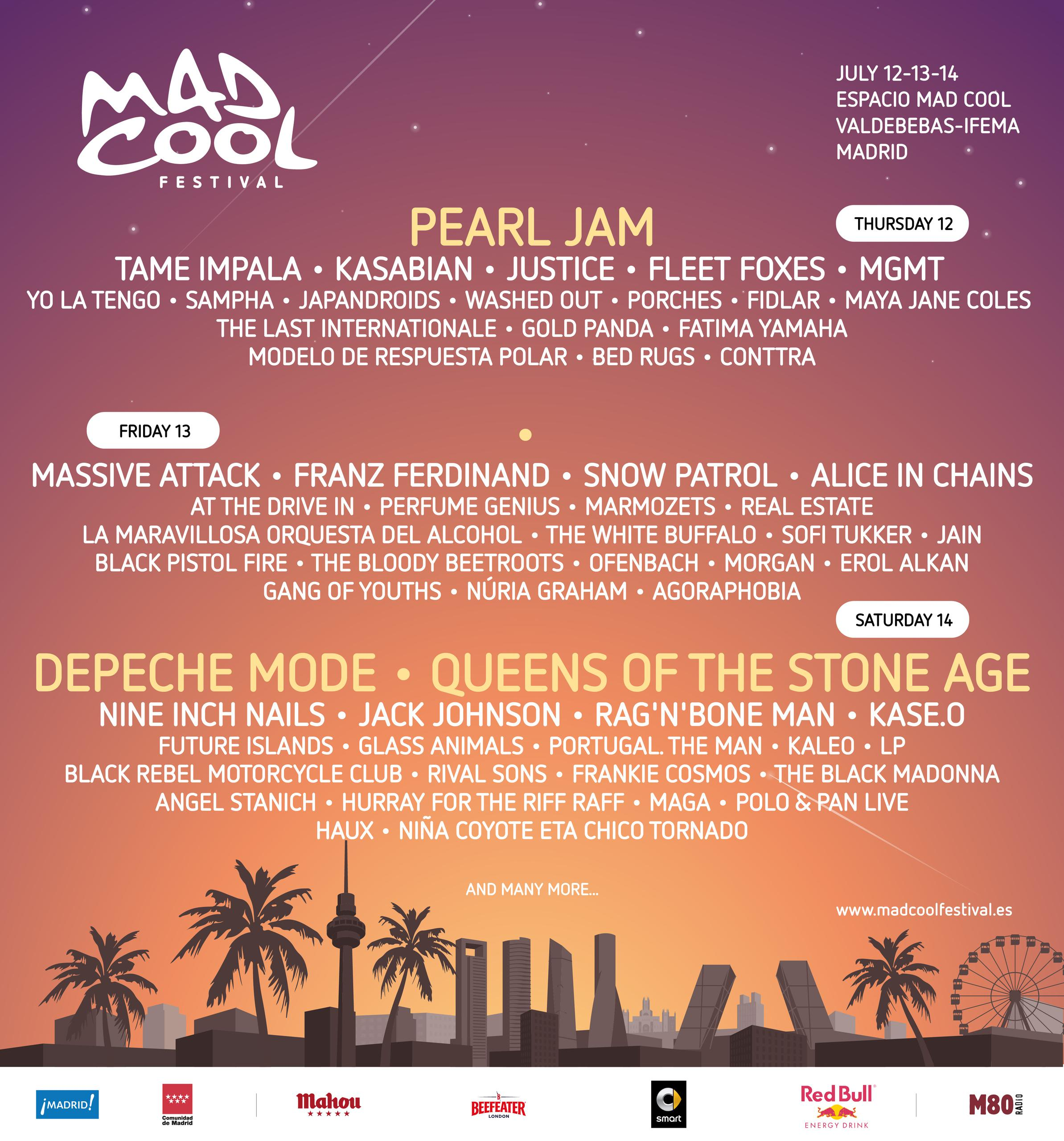 Cartel completo Mad Cool Festival 208 Madrid