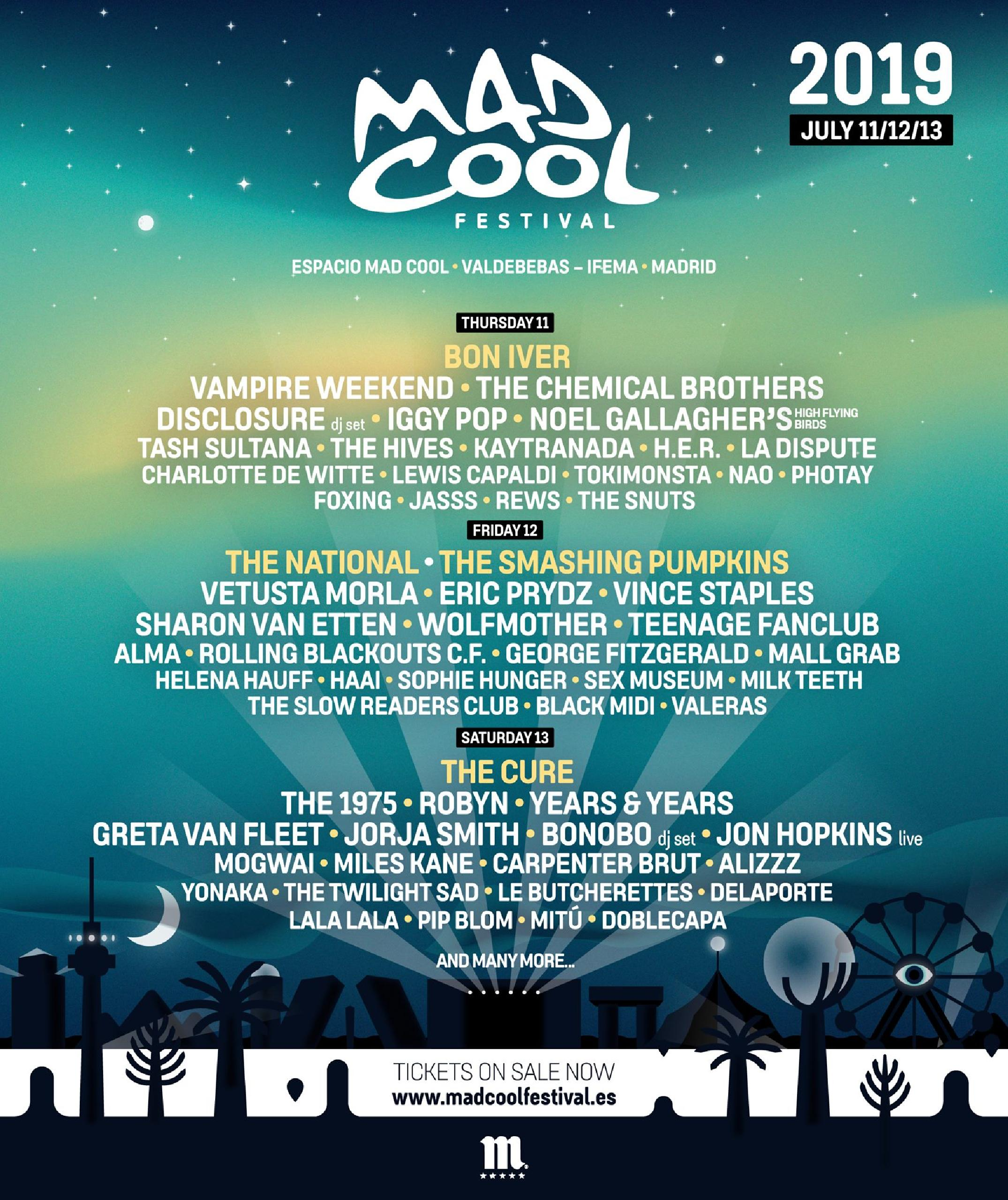 Cartel Mad Cool 2019, line up Mad Cool 2019