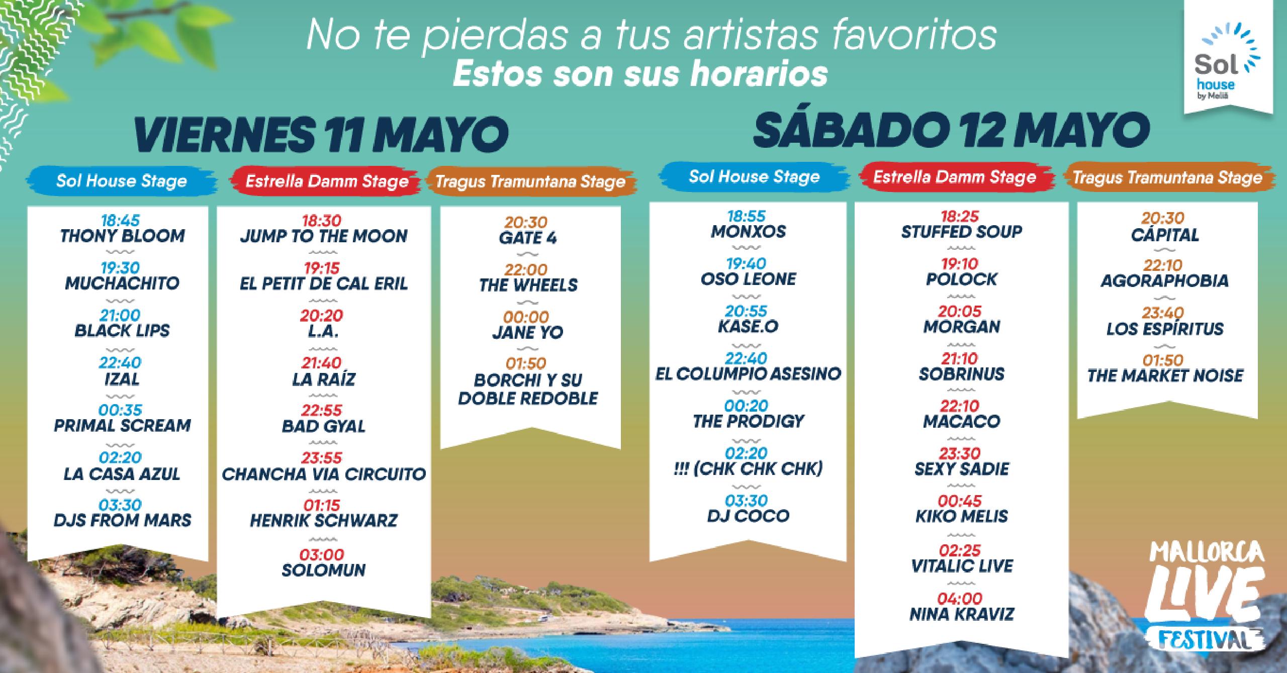 Horarios Mallorca Live Festival 2018