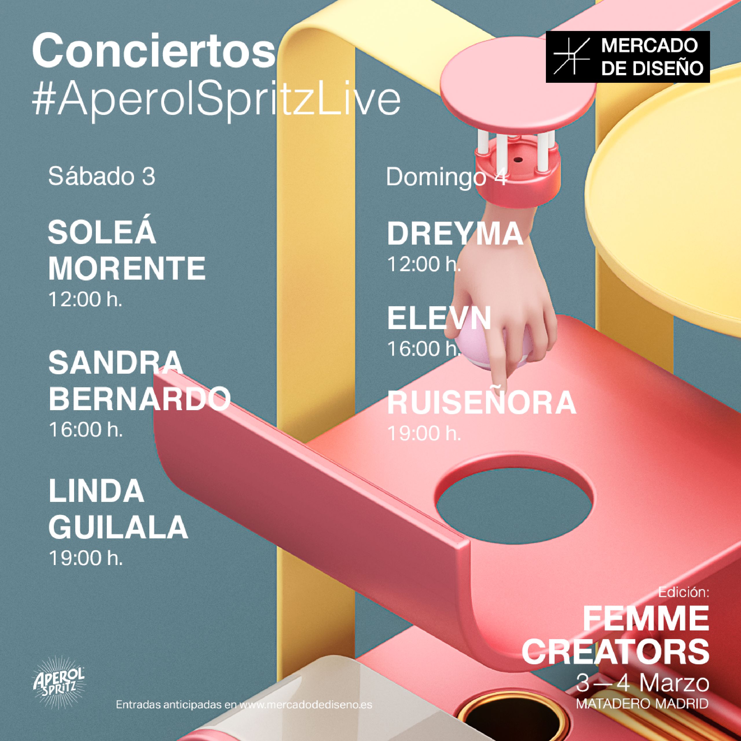 Cartel Mercado de Diseño 2018 marzo: Soleá Morente, Sandra Bernardo, Linda Guilala, Dreyma, Elevn, Ruiseñora