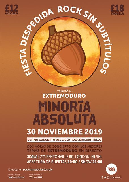 Sábado 30 noviembre 2019 / 20 horas @ Scala, Londres
