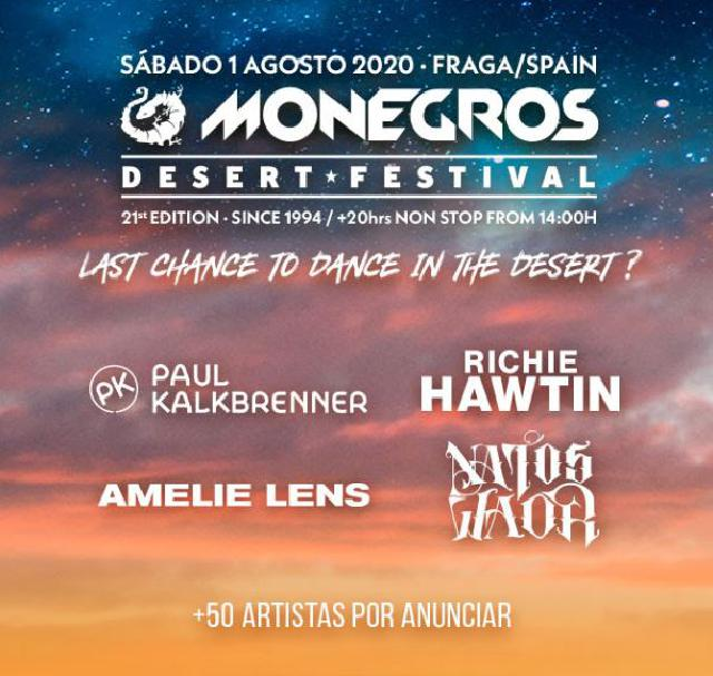 Cartel Monegros 2020 confirmaciones