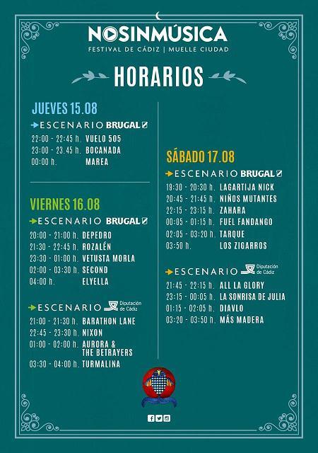 Horarios No Sin Música 2019