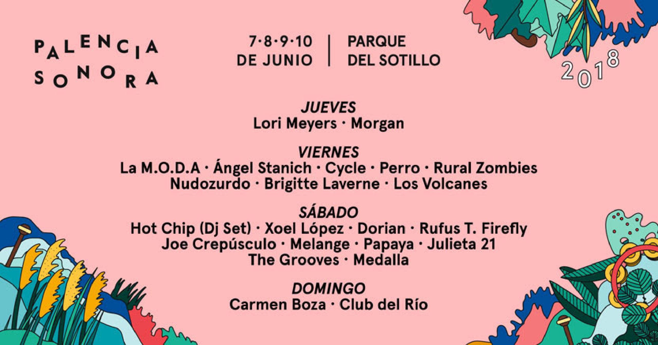 Cartel por días Palencia Sonora 2018
