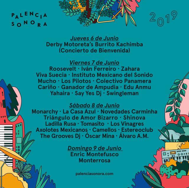 Cartel por días Festival Palencia Sonora 2019