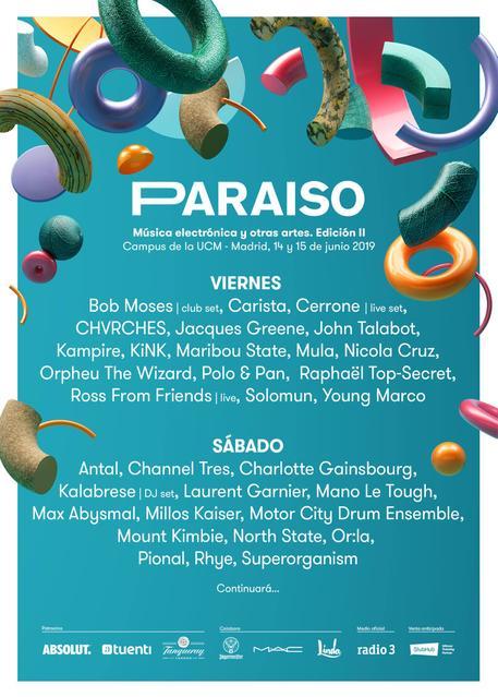 Cartel por días Paraíso Festival 2019