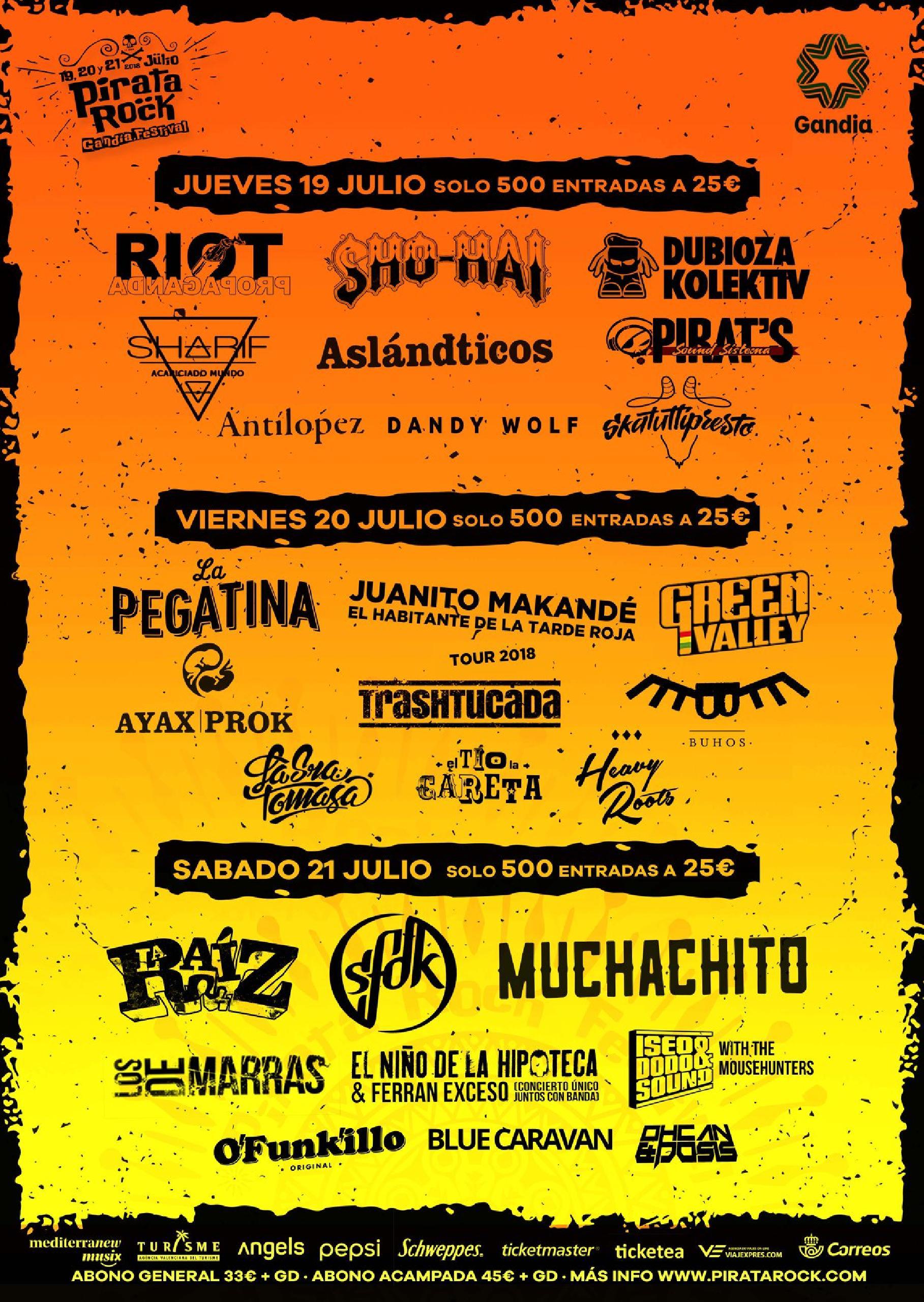 Cartel completo por días Pirata Rock 2018