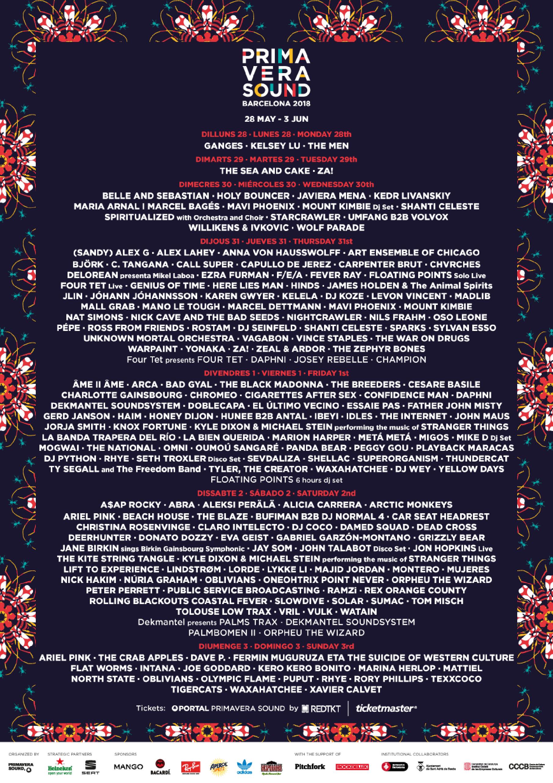 Line-up Primavera Sound 2018