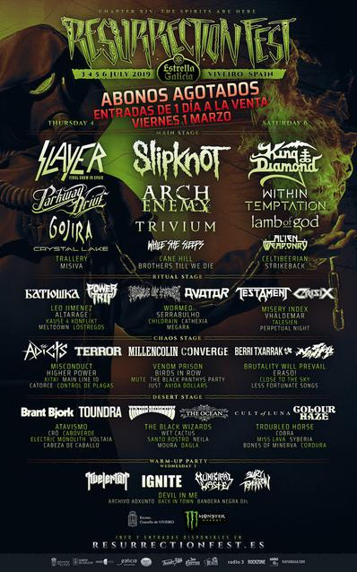 Cartel por días confirmaciones Resurrection Fest 2019