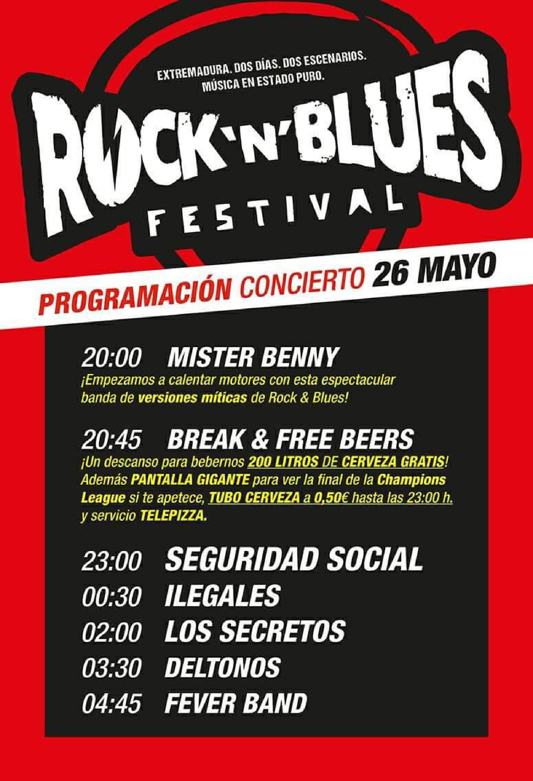 Cartel con horarios Rock N Blues 2018