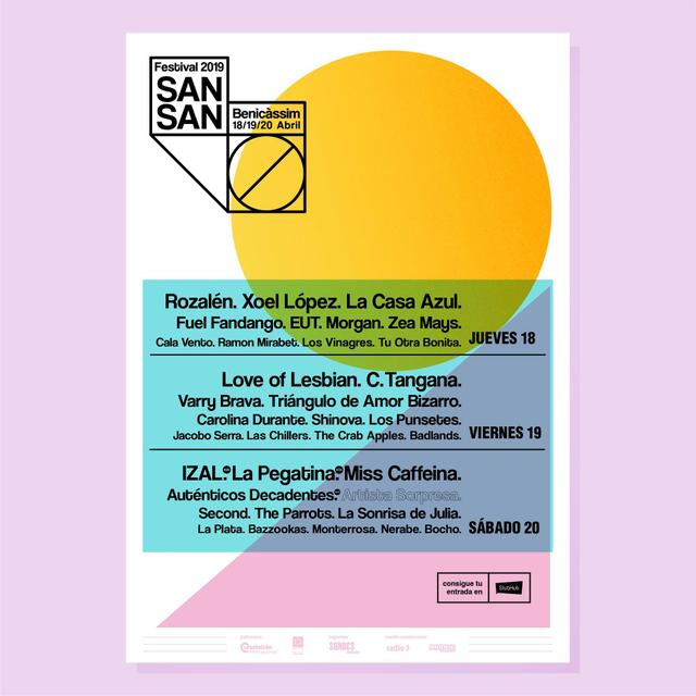 Cartel por días Sansan Festival 2019 confirmaciones