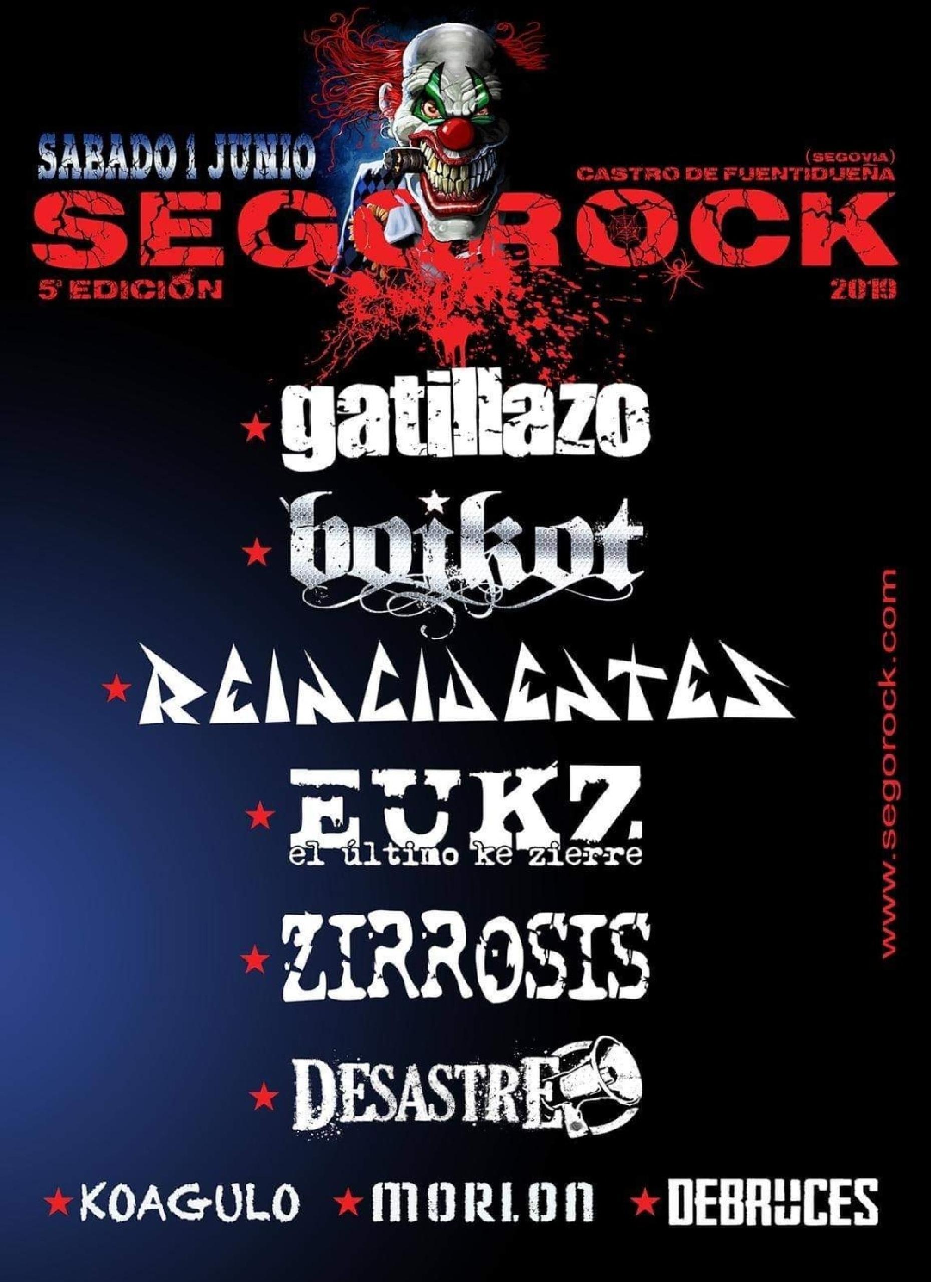 Cartel confirmaciones Sego rock 2019