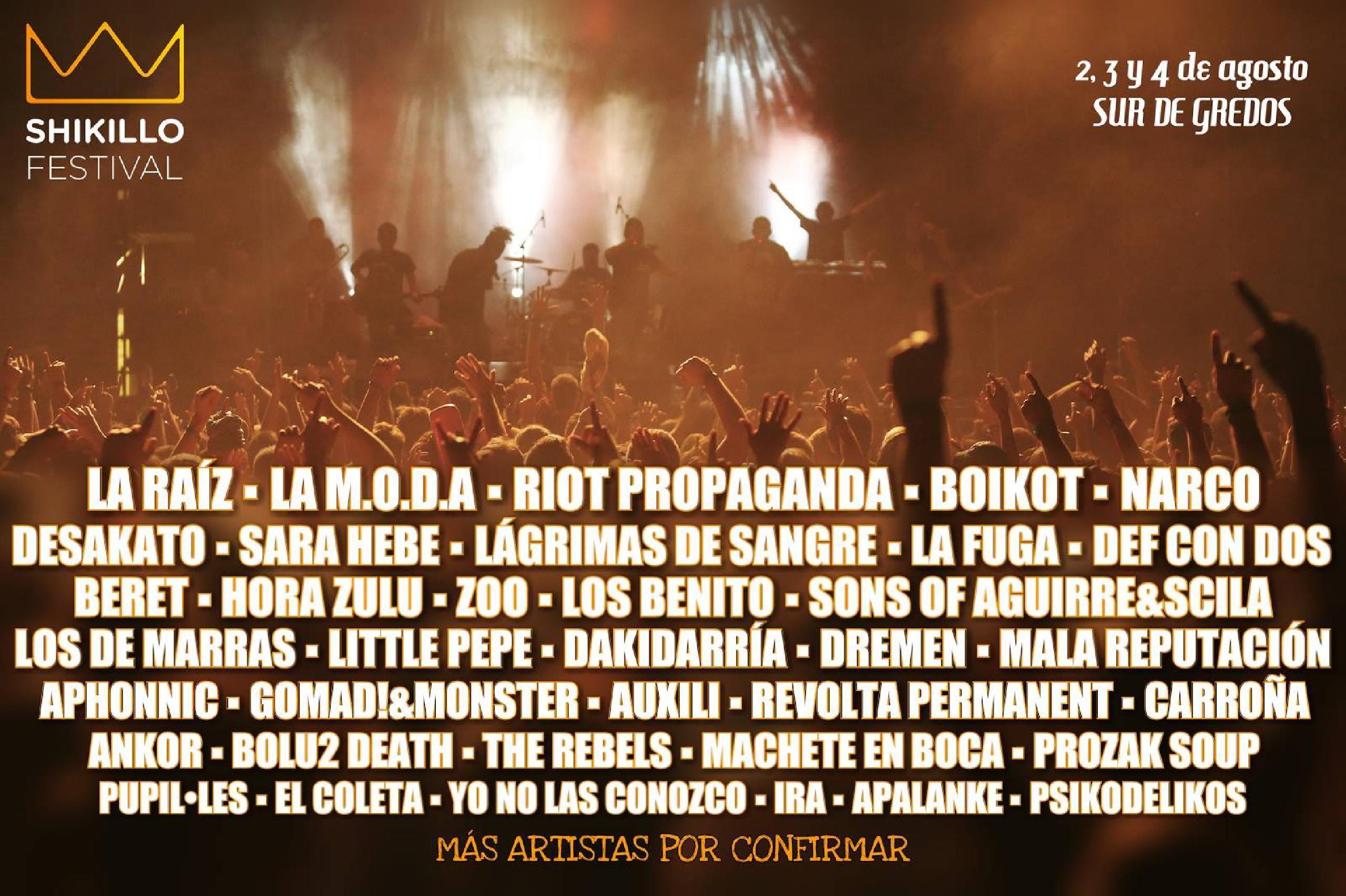 Cartel confirmaciones Shikillo Festival 2018: La Raíz, La M.O.D.A., Riot Ptopaganda, Boikot, Narco, Desakato, Sara Hebe, Lágrimas de Sangre, La Fuga y Def Con Dos, entre otros.