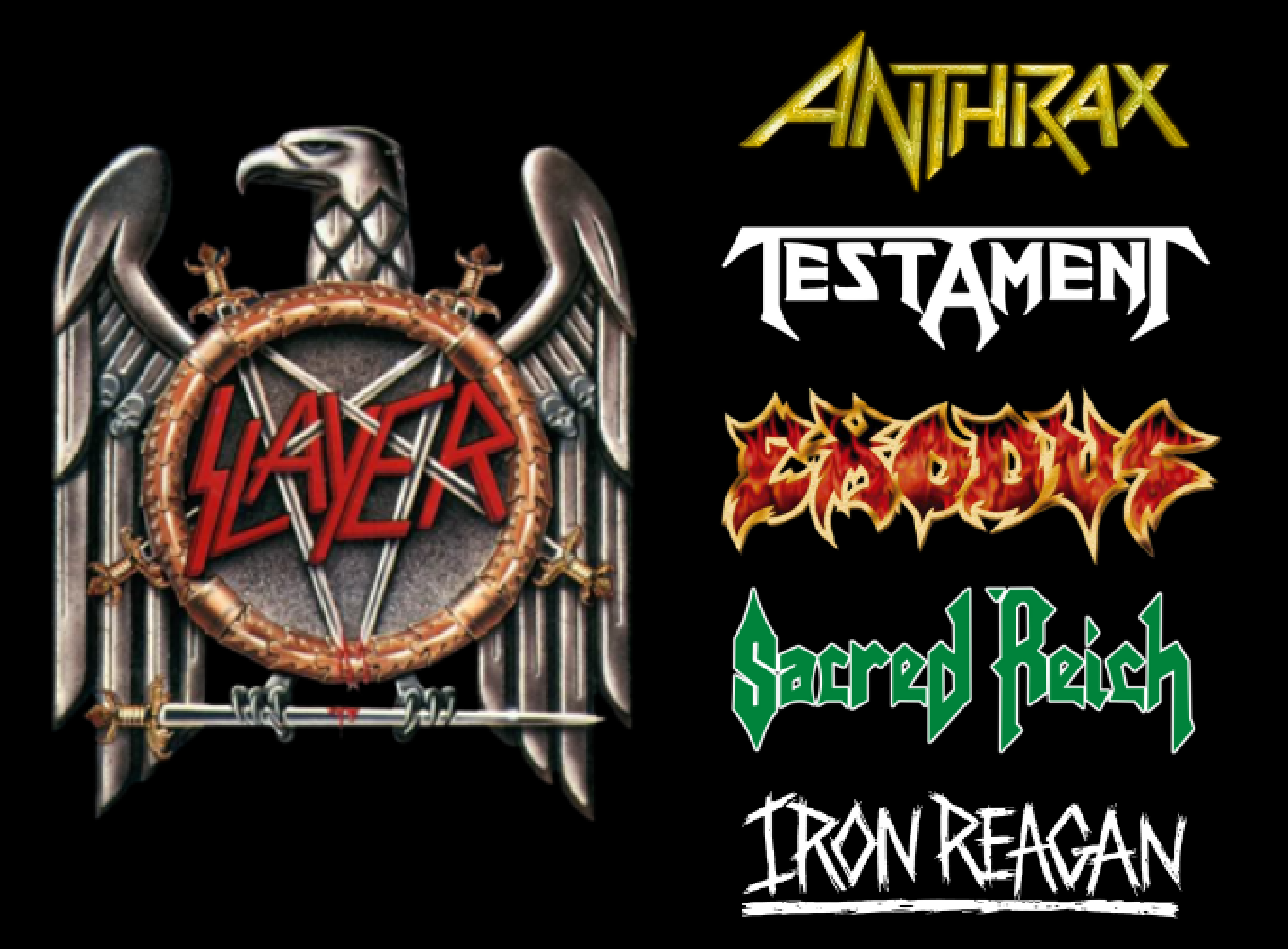 Slayer, Anthrax, Testament, Exodus, Sacred Reich, Iron Reagan