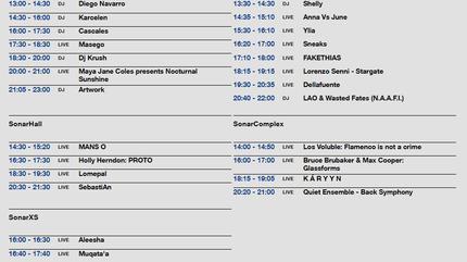 Horarios Sonar 2019 viernes by day