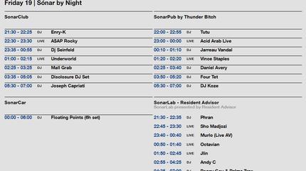 Horarios Sonar 2019 viernes by night