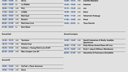 Horarios Sonar 2019 sábado by day