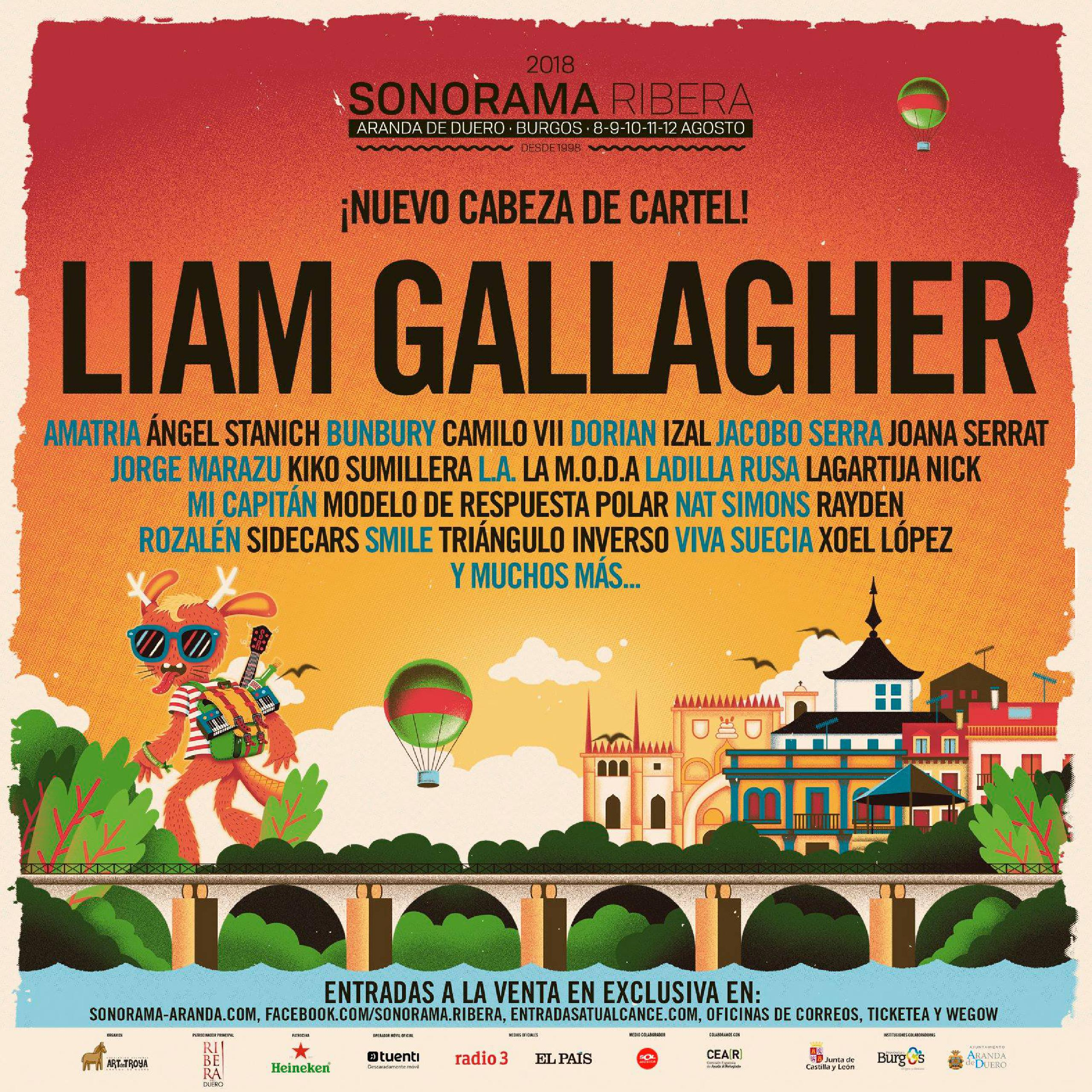 Cartel confirmaciones Sonorama Ribera 2018 Liam Gallagher