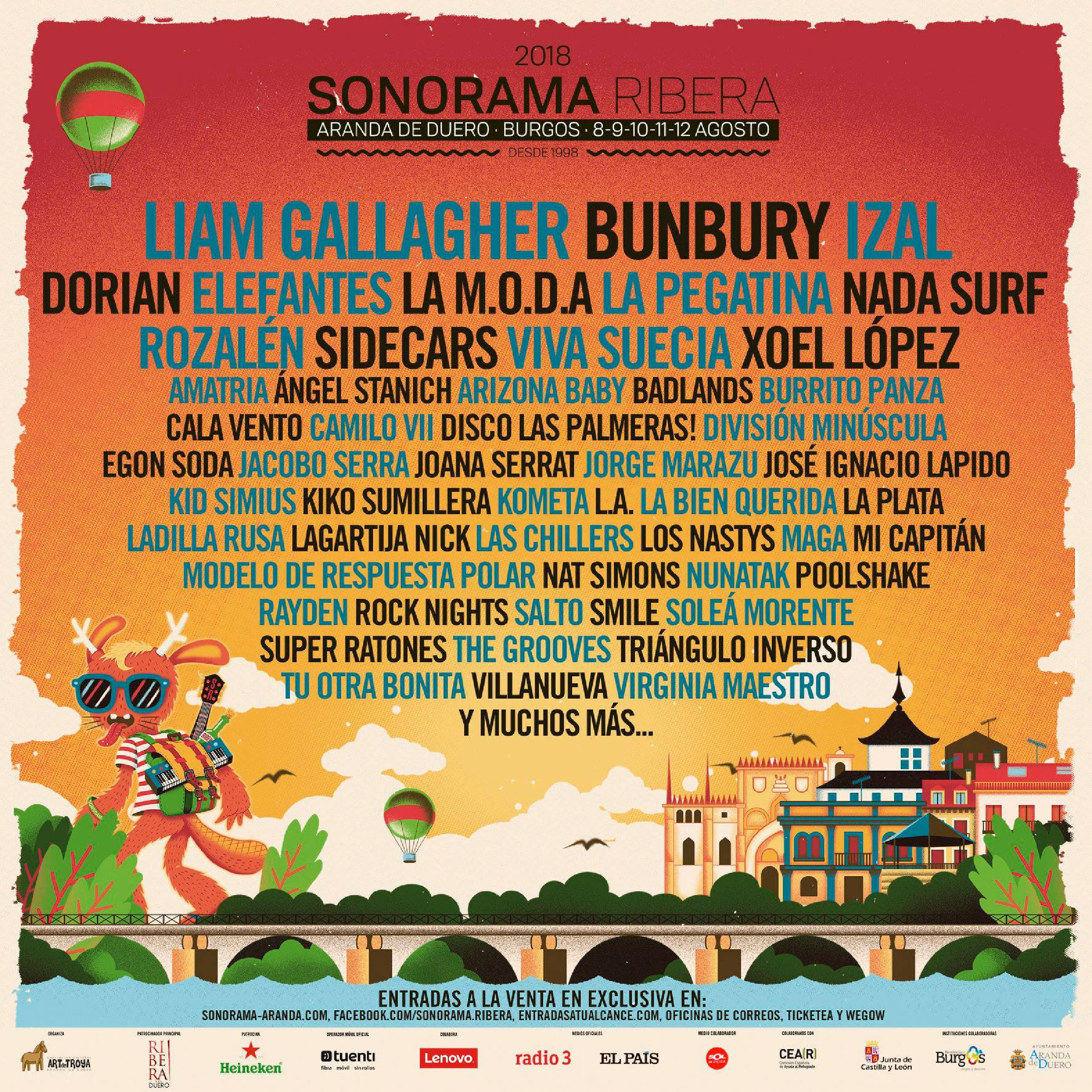 Cartel confirmaciones Sonorama Ribera 2018 Liam Gallagher