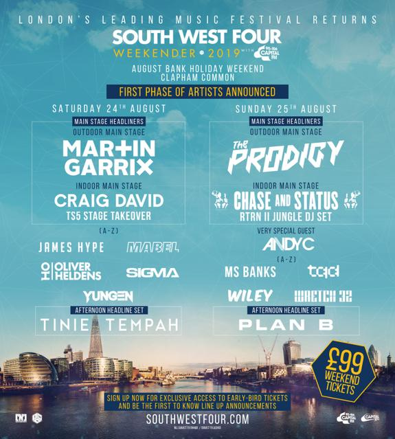 South West Four LineUp