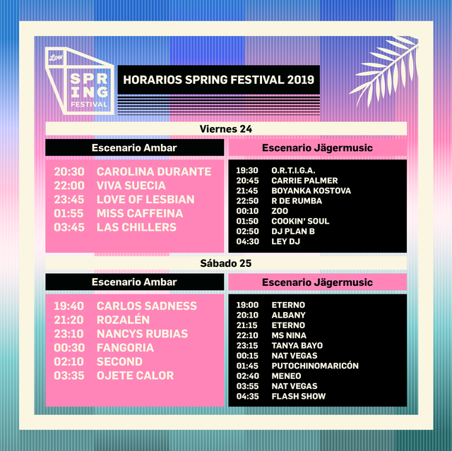 Horarios Spring Festival 2019