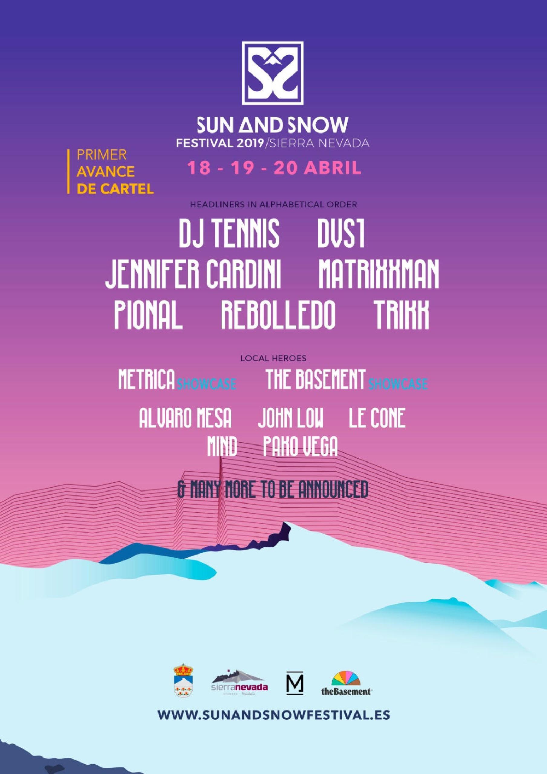 Primer avance de cartel Sun And Snow Festival 2019