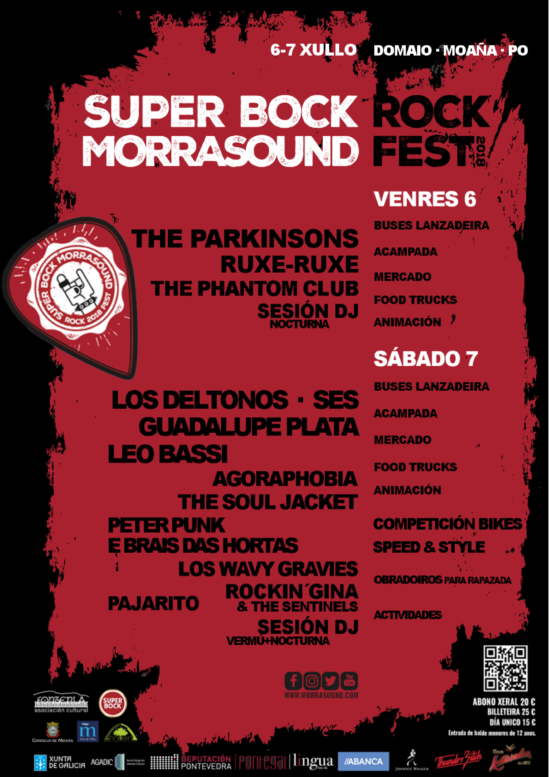 Programa por días del festival Viernes 6 + Sábado 7 Música Rock, artes escénicas, competición bikes, actividades, animación, talleres para peques y familias, zona acampada, mercado, food trucks...