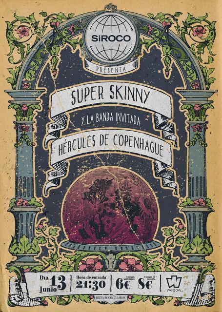Cartel del concierto de Super Skinny + Hércules de Copenhague