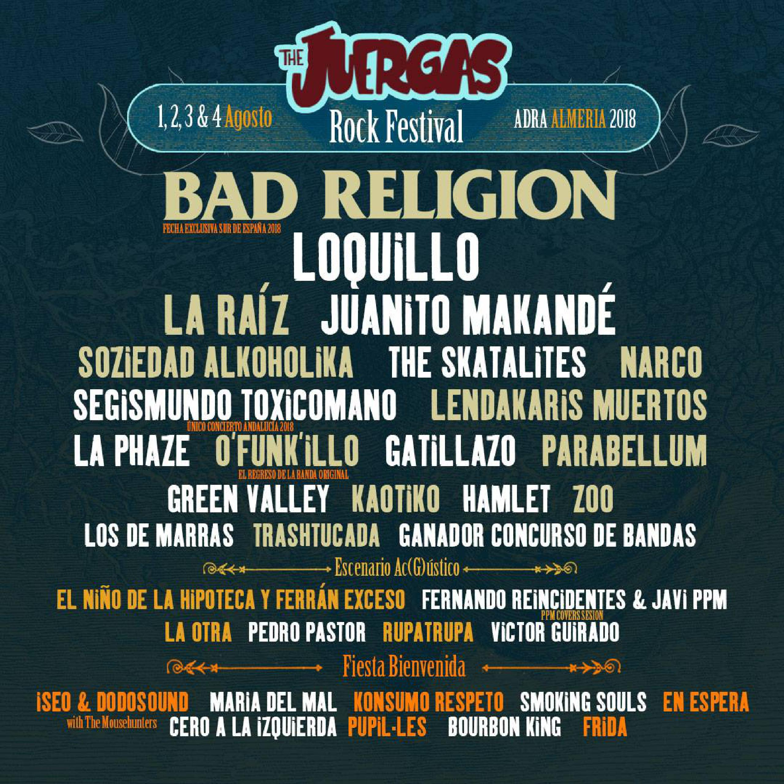 Cartel primeras confirmaciones The Juerga's Rock Fest