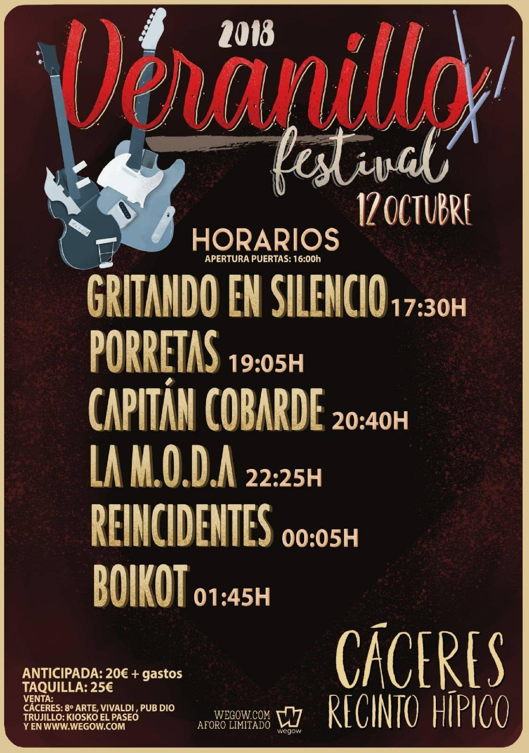 Horarios Veranillo Festival 2018