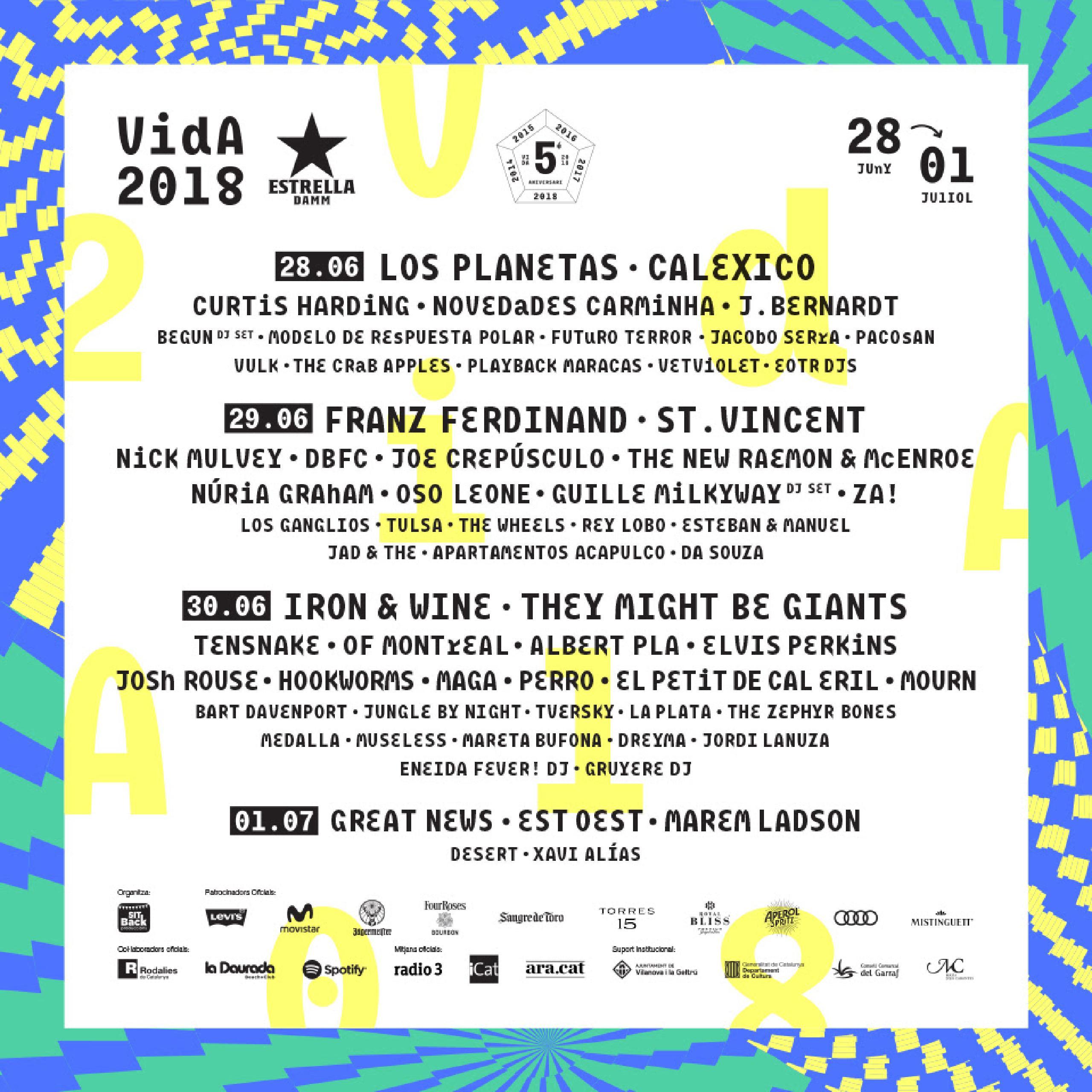 Cartel Completo Vida Festival 2018