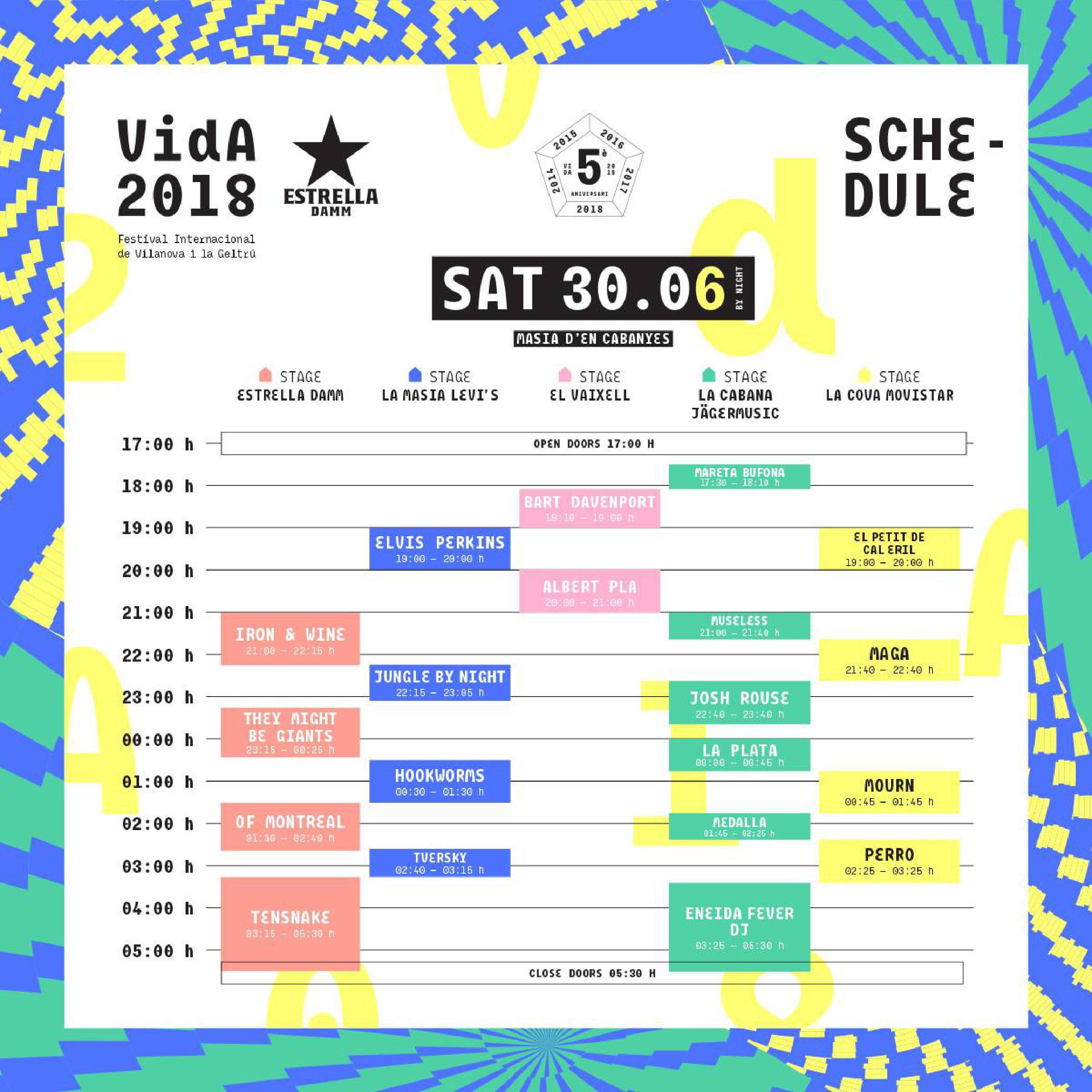 Horarios Vida Festival 2018 sábado