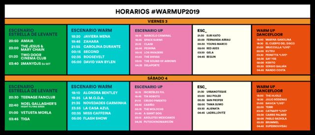 Horarios Warm Up estrella de Levante 2019