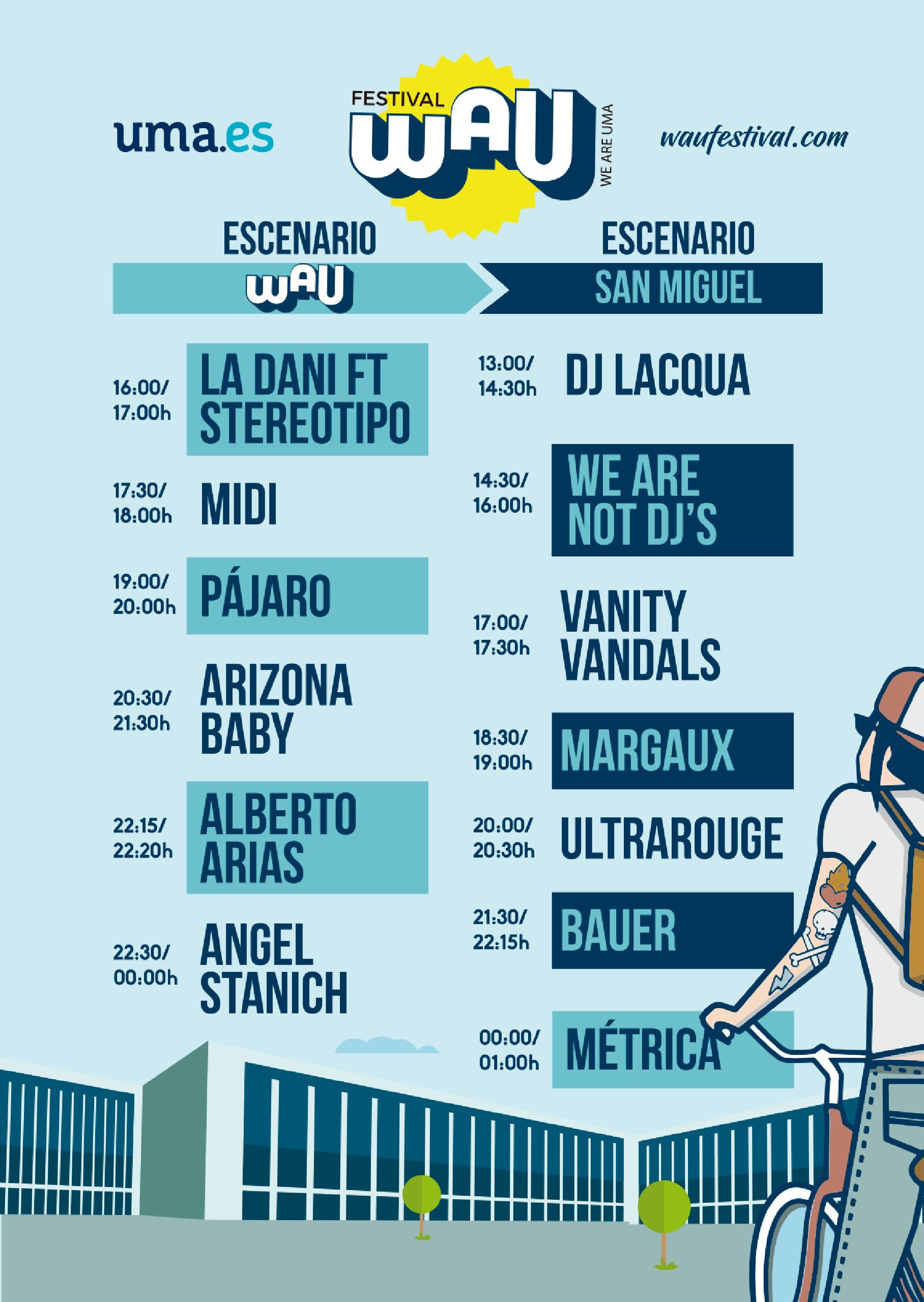 Horarios WAU Festival 2018