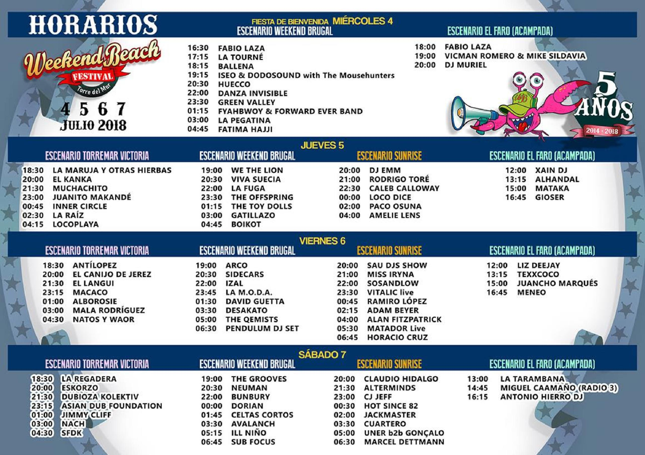 Horarios Weekend Beach Festival 2018