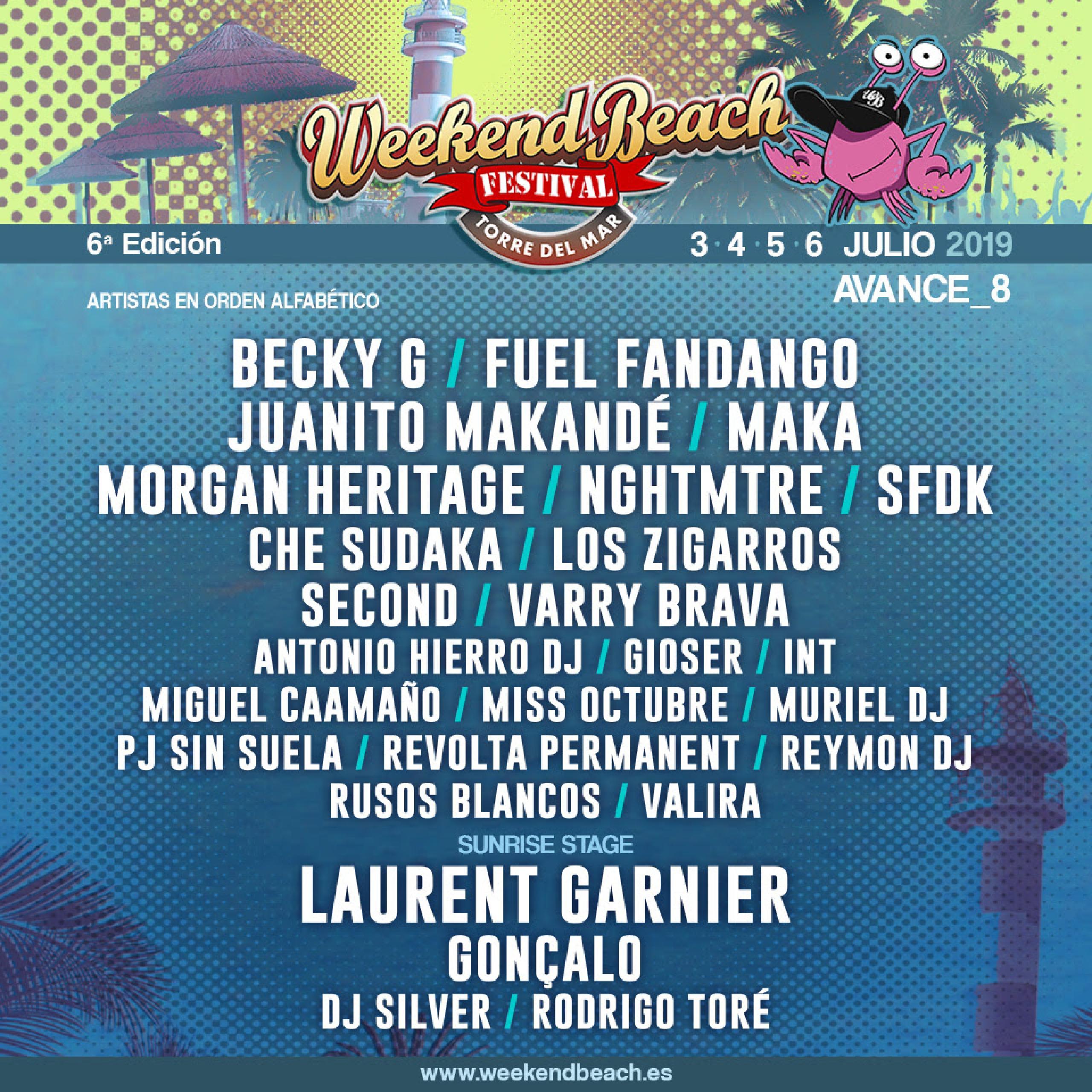 Cartel confirmaciones Weekend Beach 2019