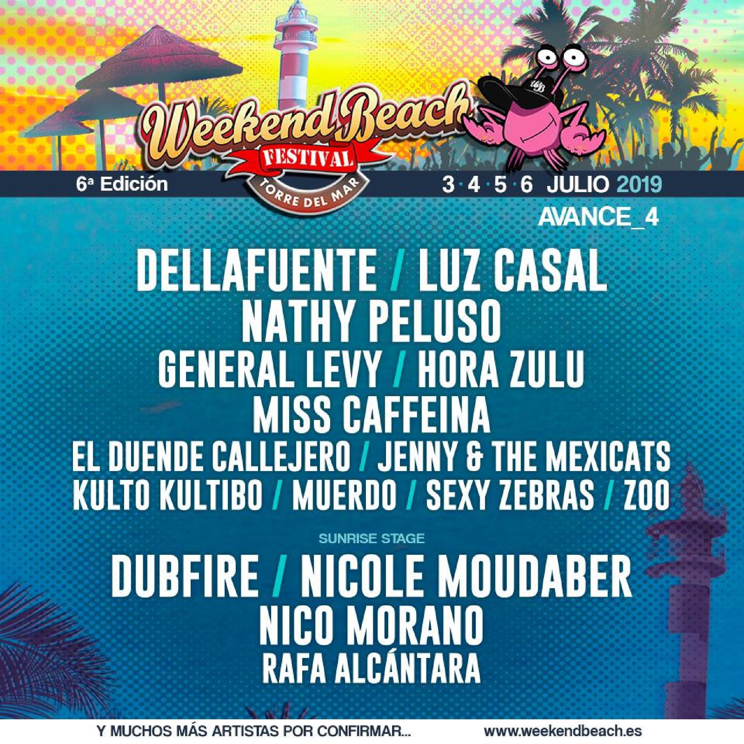 Confirmaciones cartel Weekend Beach Festival 2019