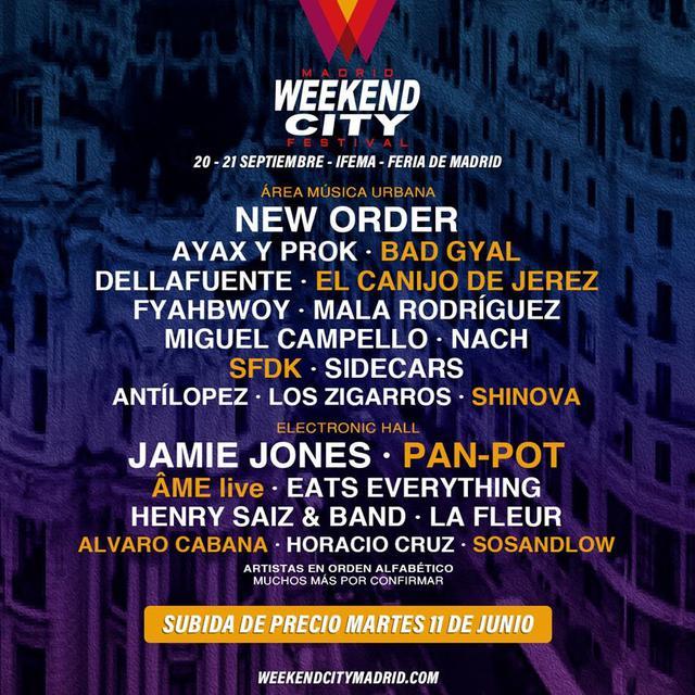 Confirmaciones cartel Weekend City Madrid 2019