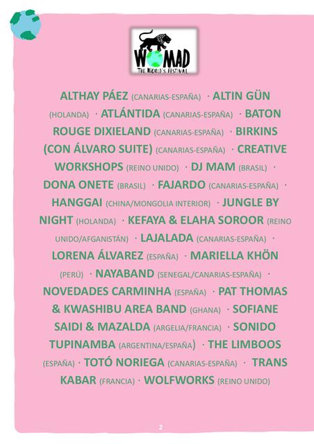 Foto del cartel de WOMAD Las Palmas 2019