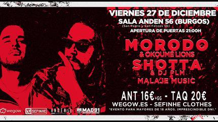 Morodo & Okoumé Lions, Shotta & Dj PLM y Malaje Music en Burgos